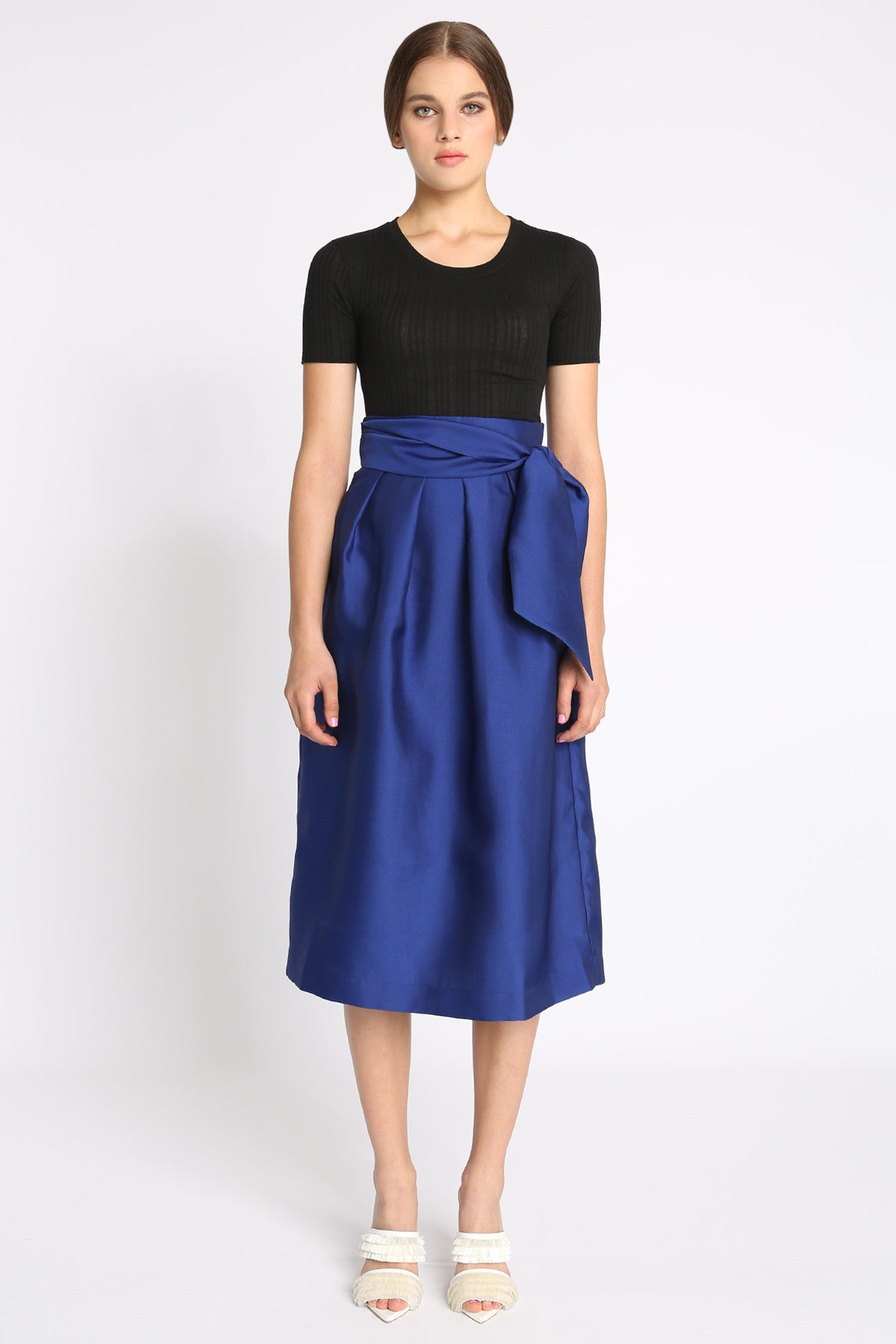 Midi Yves High Waist Side Sash Skirt