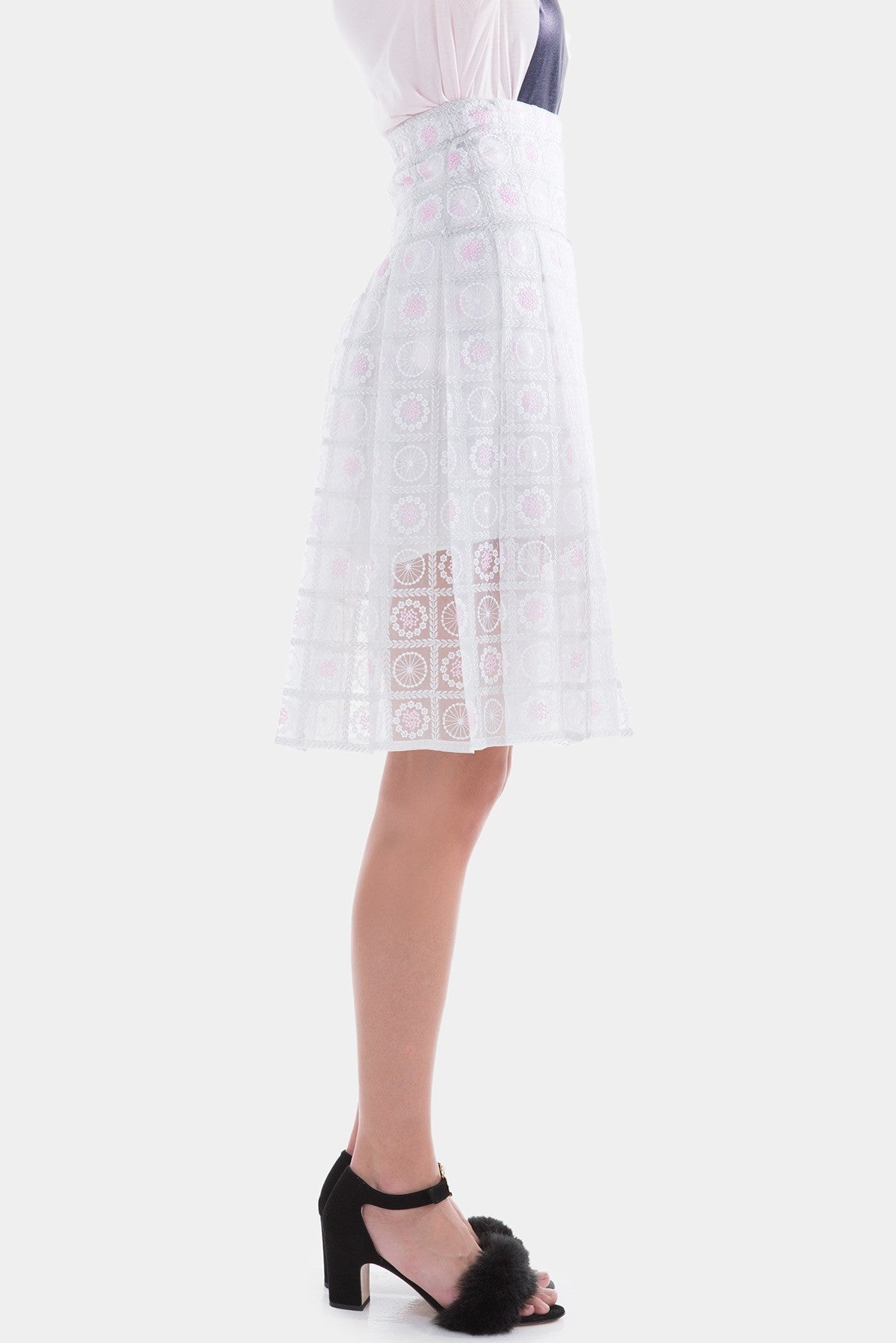 White Checked Pleated Skirt