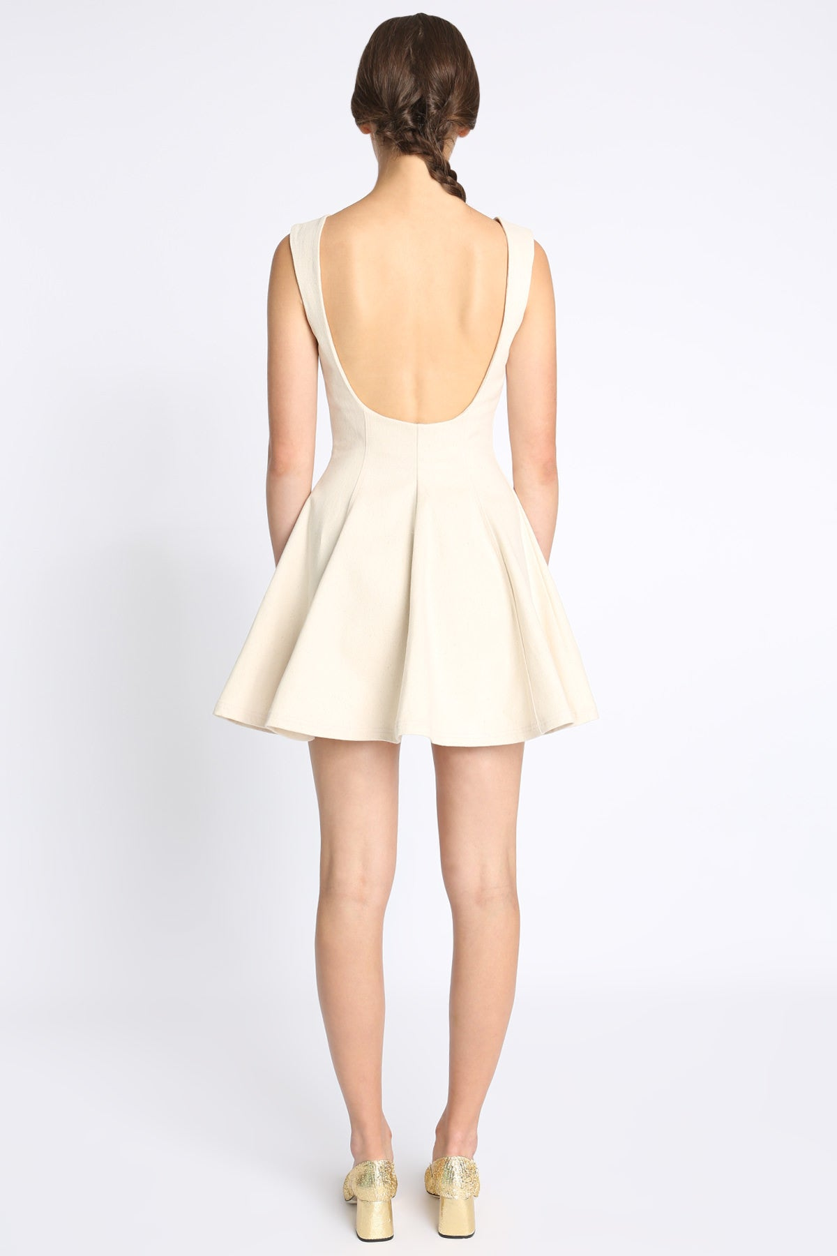 Adrian Button Front Open Back Skater Dress