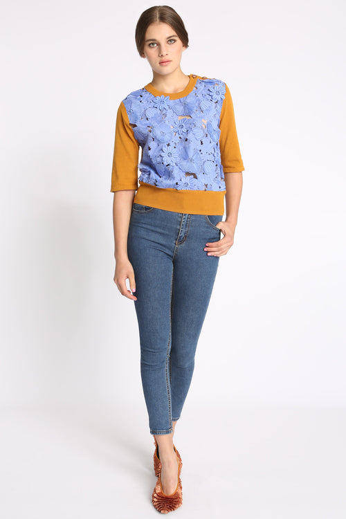Garden Embroidery Sweater Top