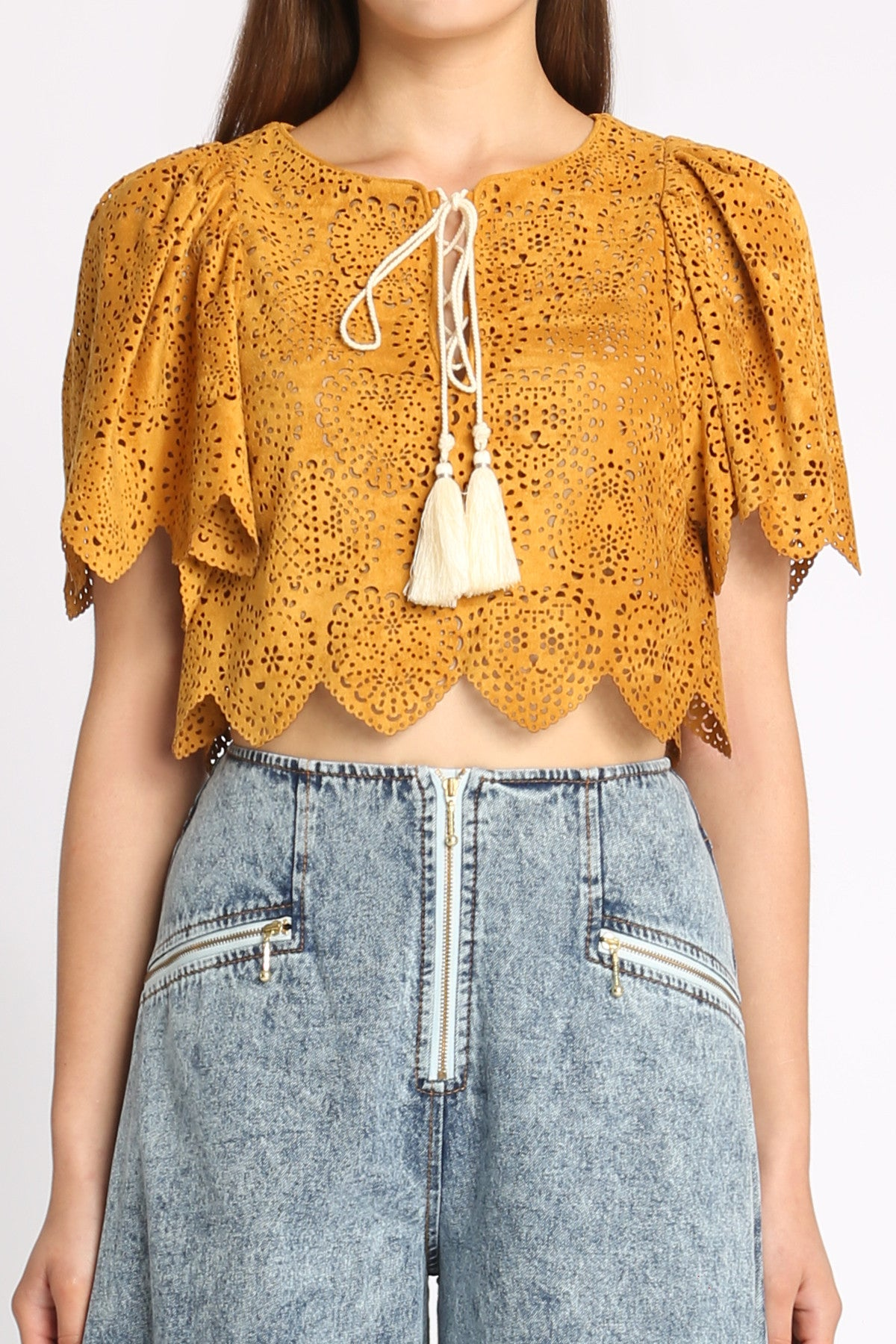 Medeliene Laser Cut Crop Top