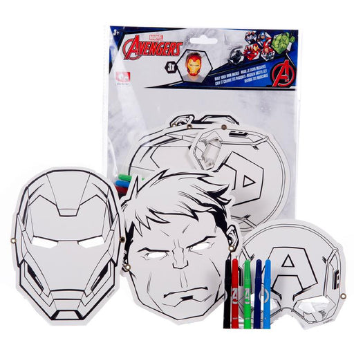 MARVEL AVENGERS COLOUR YOUR OWN MASKS 3PK SET