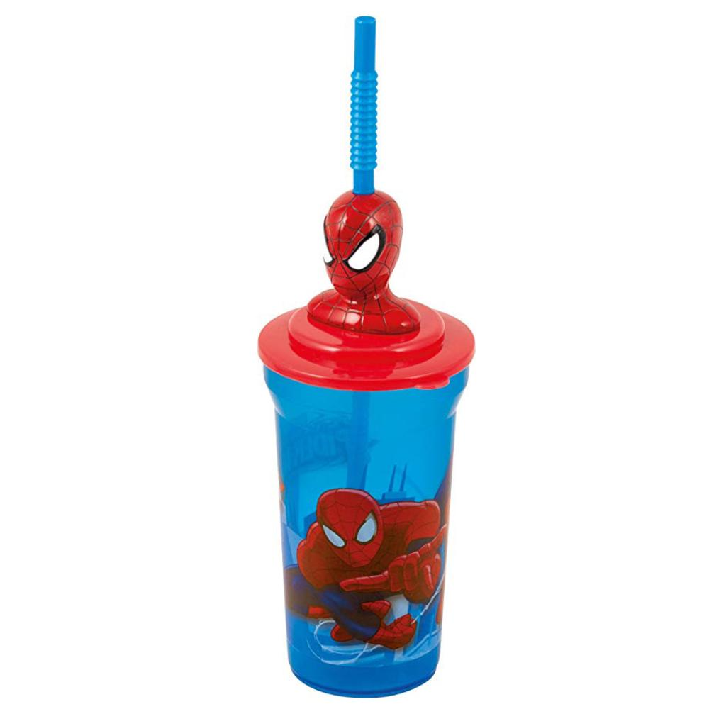 SPIDERMAN 3D DRINKING BOTTLE WITH STRAW