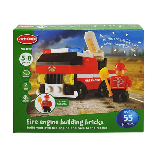 ATCO BUILDING BRICKS FIRE ENGINE 55PC PLAY SET