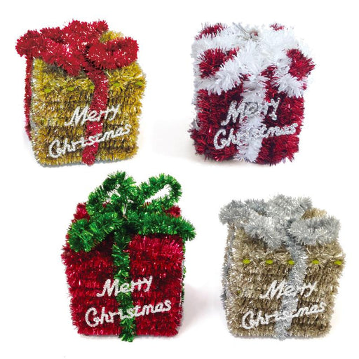 TINSEL CHRISTMAS PRESENT BOX DECORATION