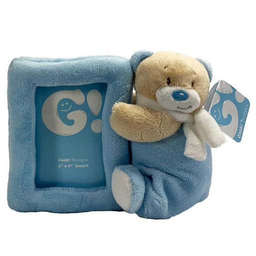NURSERY BLUE BEAR SOFT PLUSH PHOTOFRAME
