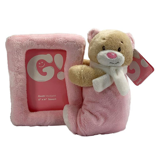NURSERY PINK BEAR SOFT PLUSH PHOTOFRAME