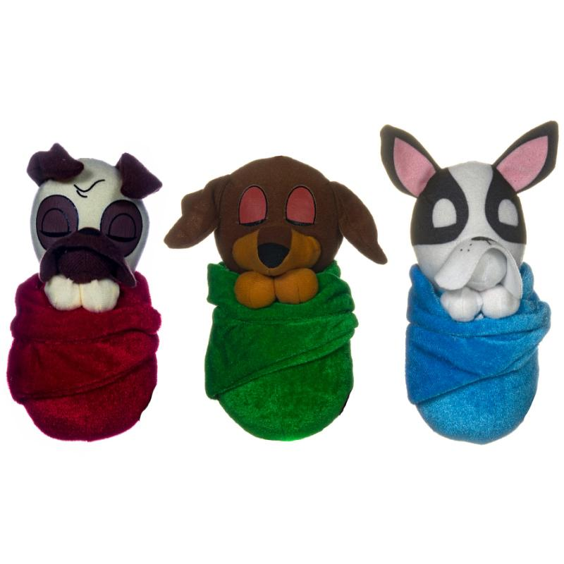 "SLEEPING DOG IN BLANKET 6"" SOFT PLUSH TOY"