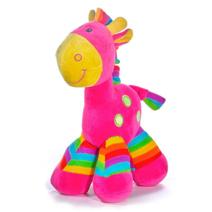 "COLOURFUL RAINBOW HORSE BABY SOFT PLUSH 10"" TOY - PINK"
