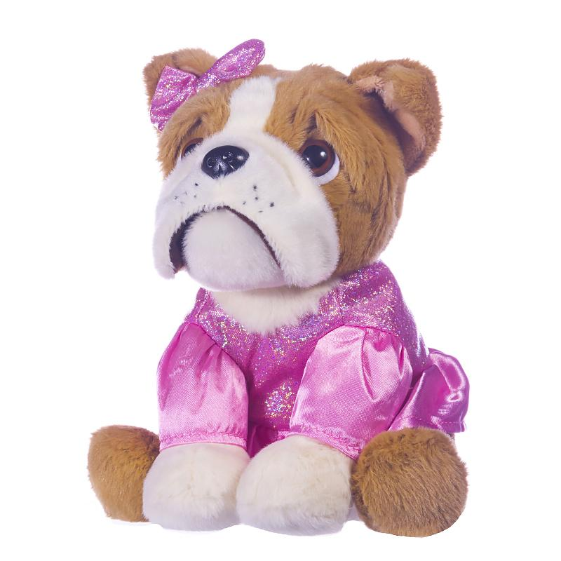"GIRLIE PAWS BULLDOG IN LIGHT PINK DRESS 8"" SOFT PLUSH TOY"