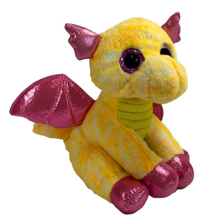 "SPARKLE EYES 9"" SOFT PLUSH DRAGON - YELLOW"