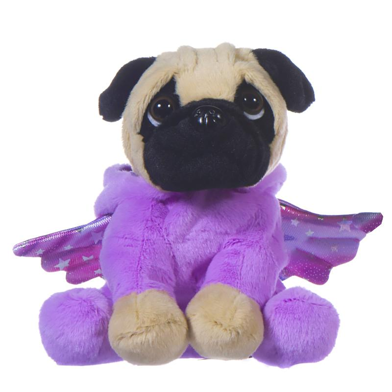 "GIRLIE PAWS UNICORN ONESIE PUG 8"" SOFT TOY - PURPLE PINK"