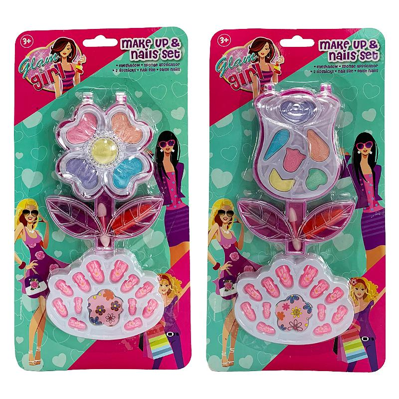 GLAMOUR GIRL MAKE UP & NAILS FLOWER BEAUTY PLAY SET