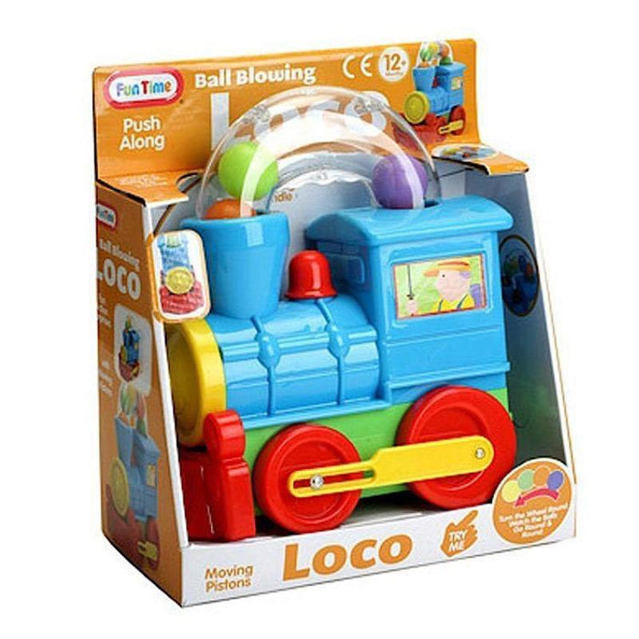 BALL BLOWING PUSH ALONG LOCO TRAIN ACTIVITY TOY