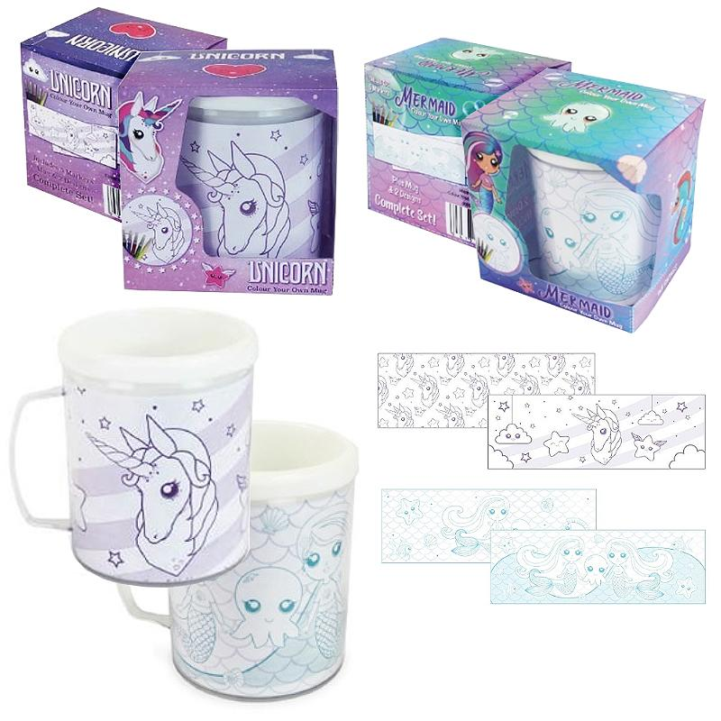 COLOUR YOUR OWN MUG UNICORN / MERMAID WITH MARKERS