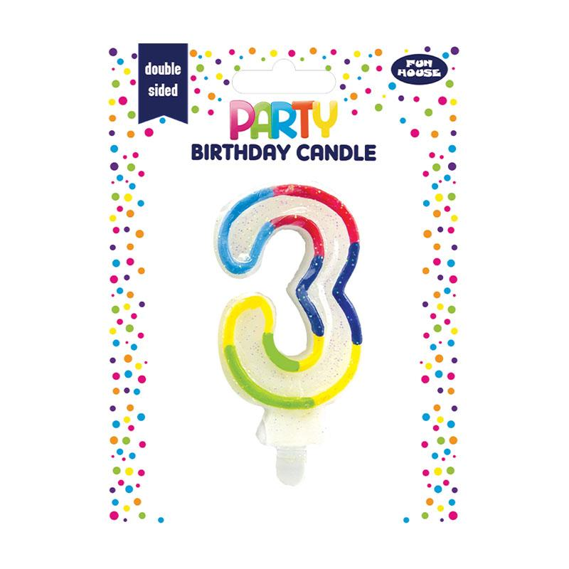 3RD BIRTHDAY DOUBLE SIDED BIRTHDAY CANDLE