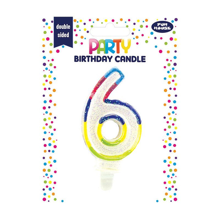 6TH BIRTHDAY DOUBLE SIDED CANDLE