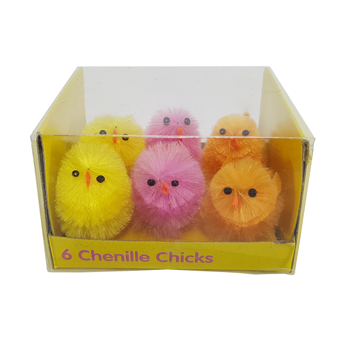 Chenille Chicks Assorted Colour 6 Pack