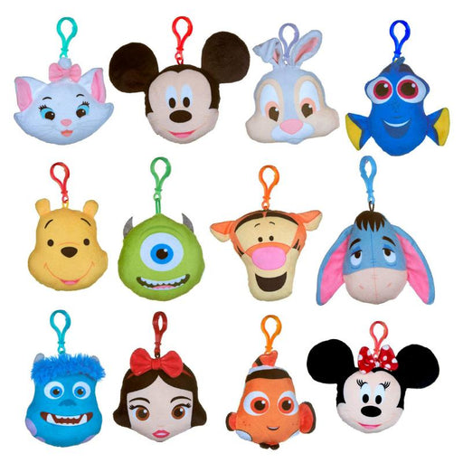 "DISNEY CHARACTER MINI 4"" SOFT PLUSH BAG CLIP"