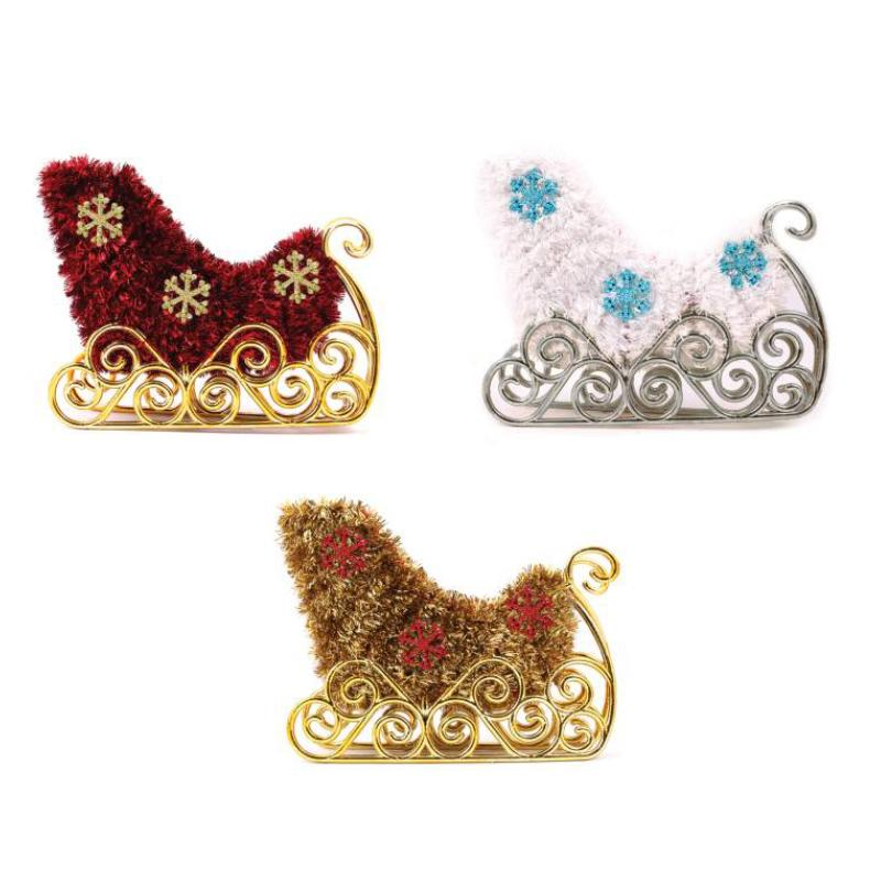 TINSEL SLEIGH DECORATION