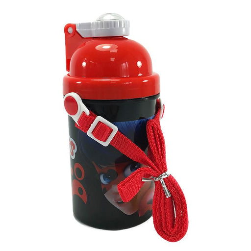 MIRACULOUS LADYBUG POP UP BOTTLE WITH STRAP