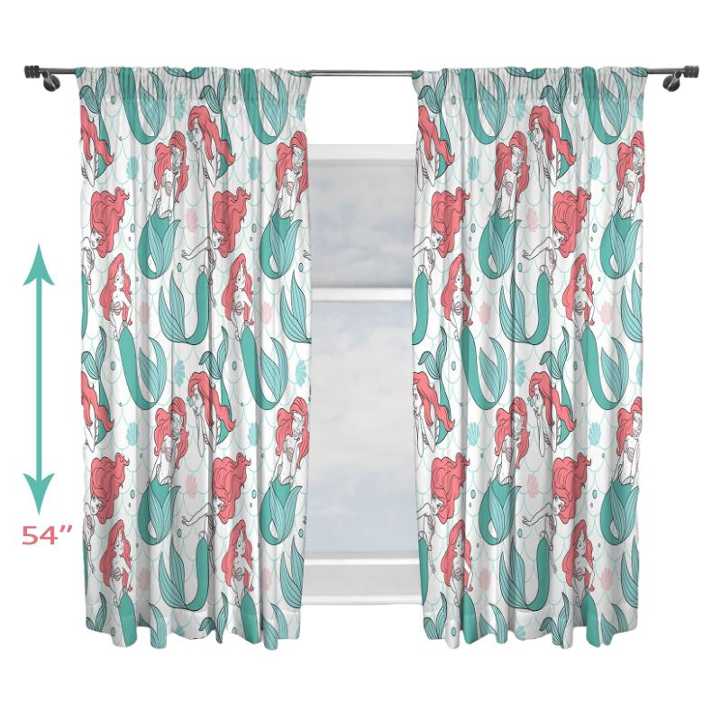 DISNEY PRINCESS ARIEL OCEANIC READY MADE CURTAIN SET 54""