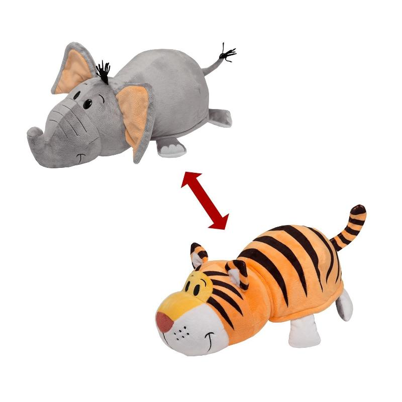 "FLIP A ZOO 2 IN 1 TIGER & ELEPHANT MINI 5"" SOFT PLUSH TOY"