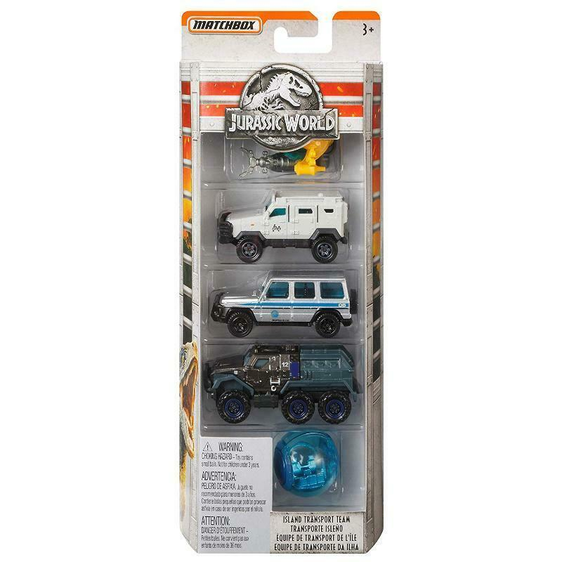 JURASSIC WORLD MATCHBOX ISLAND TRANSPORT TEAM 1:64 VEHICLE 5PK SET