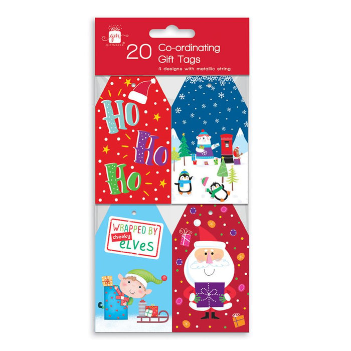 Christmas Co-Ordinating Metallic String Gift Tags 20pk