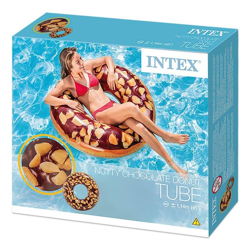"INTEX NUTTY CHOCOLATE DONUT TUBE 45"" POOL FLOAT"