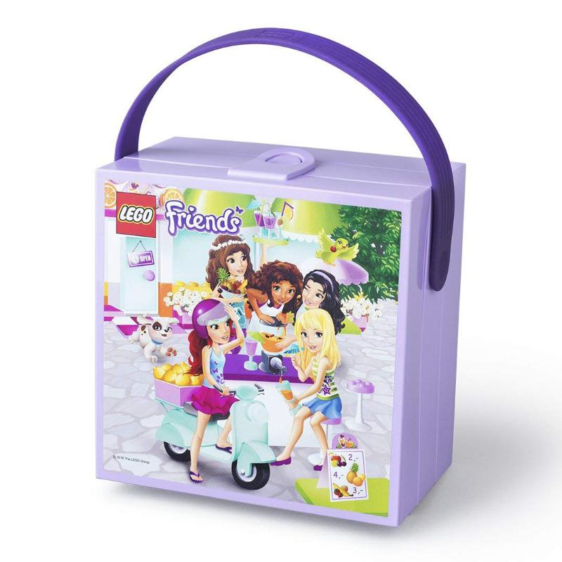 LEGO FRIENDS PURPLE CUBE LUNCH BOX WITH RUBBER HANDLE