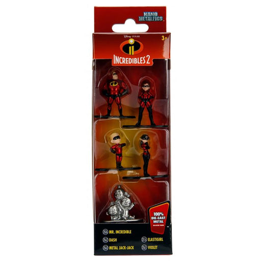 DISNEY PIXAR THE INCREDIBLES 2 NANO METALFIGS 5 FIGURE SET