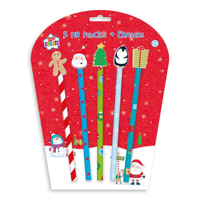 Christmas Novelty Pencils & Erasers 5pk
