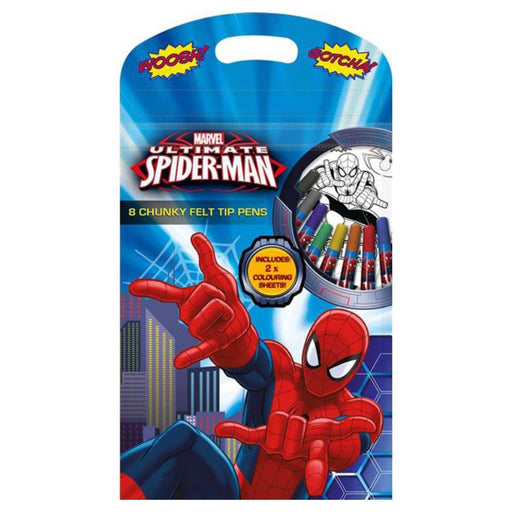 ULTIMATE SPIDERMAN 8PC CHUNKY FELT TIP PENS