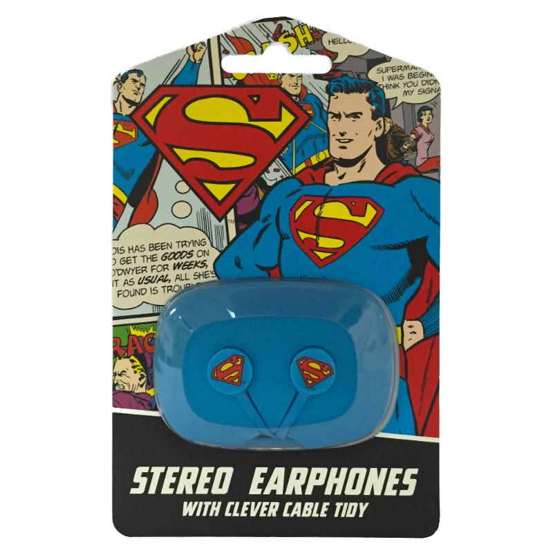 DC SUPERMAN EARPHONES WITH CLEVER CABLE TIDY