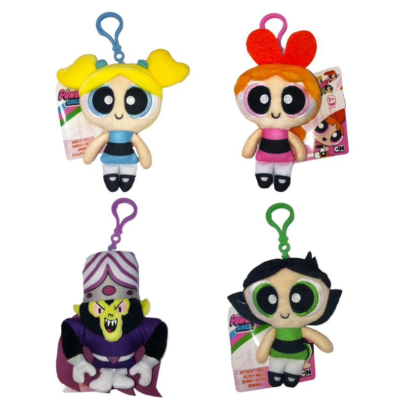 POWERPUFF GIRLS SOFT PLUSH BAG CLIP KEYCHAIN