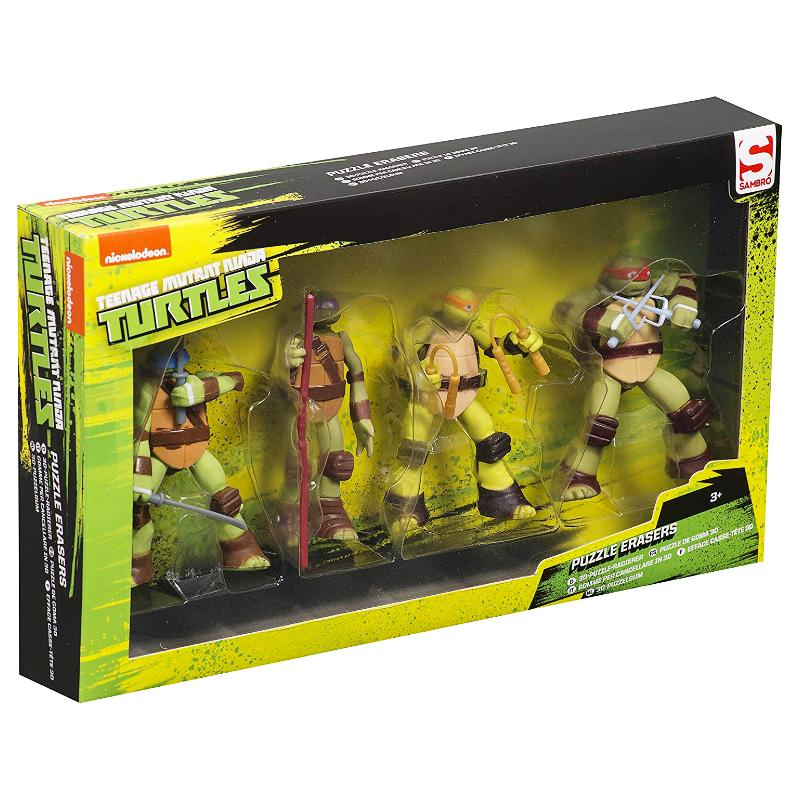 TEENAGE MUTANT NINJA TURTLES 4PK PUZZLE ERASER FIGURE SET