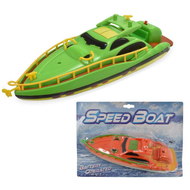 "SPEED BOAT 10"" BATTERY OPERATED WATER TOY"