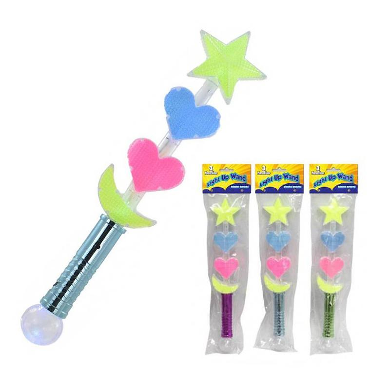 "STARS & HEARTS LIGHT UP MULTI FUNCTION 14"" WAND"