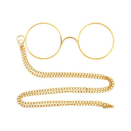 ROUND PINNACLE GLASSES & CHAIN FANCY DRESS