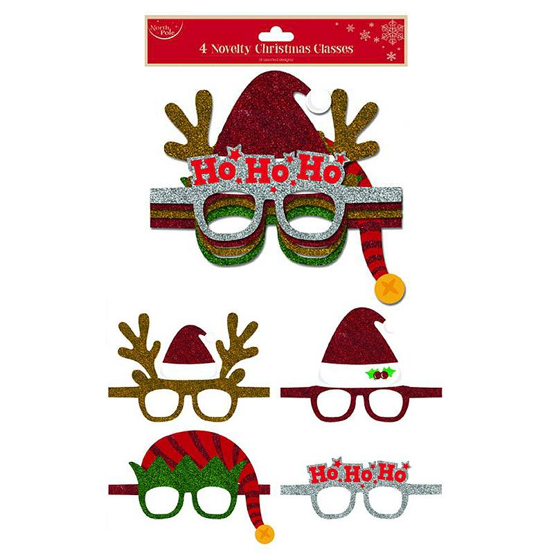 XMAS NOVELTY GLASSES 4PC SET