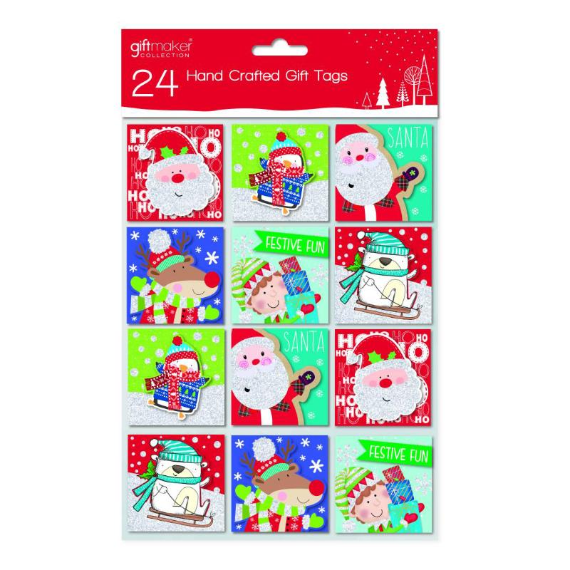 24 HANDCRAFTED CUTE XMAS GIFT TAGS