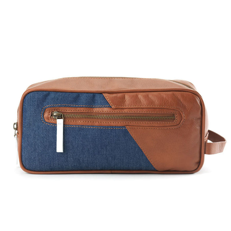 Trousse de toilette camel/denim brut