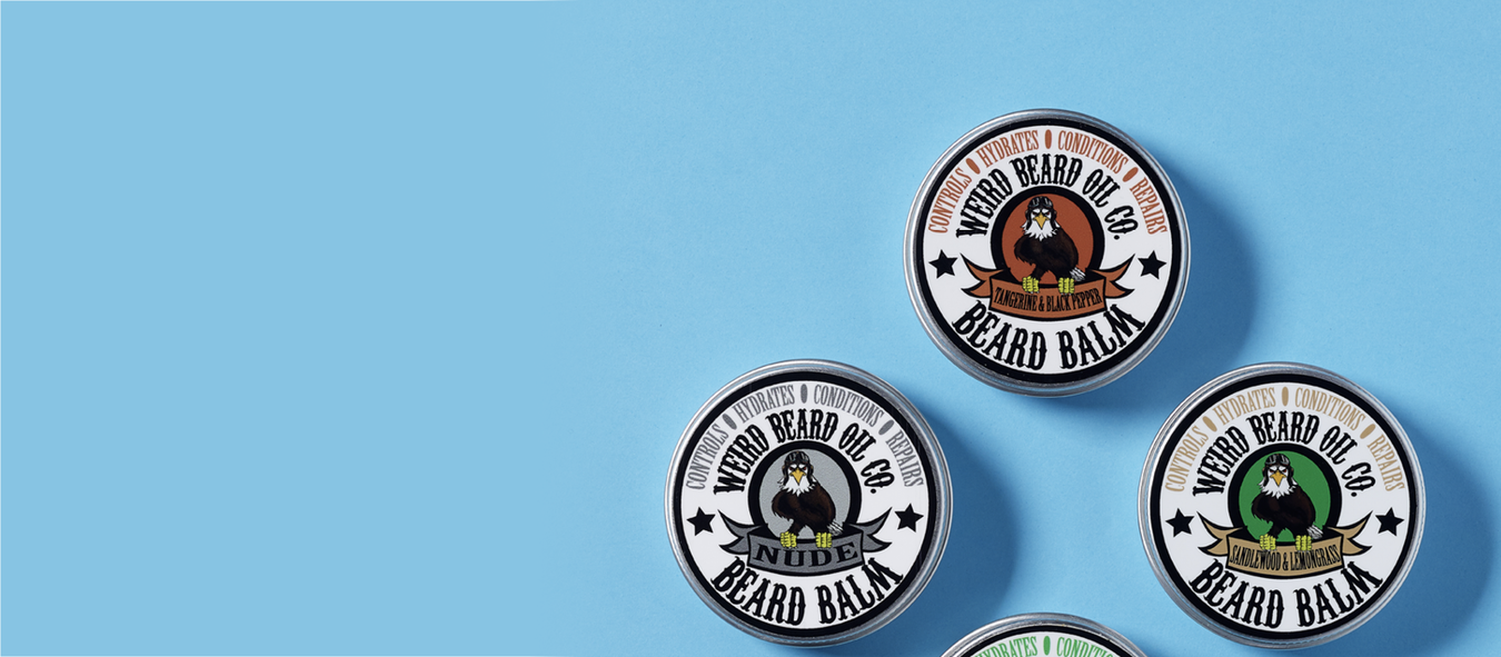 Round lip balm tin for Weird Beard Oil Co.
