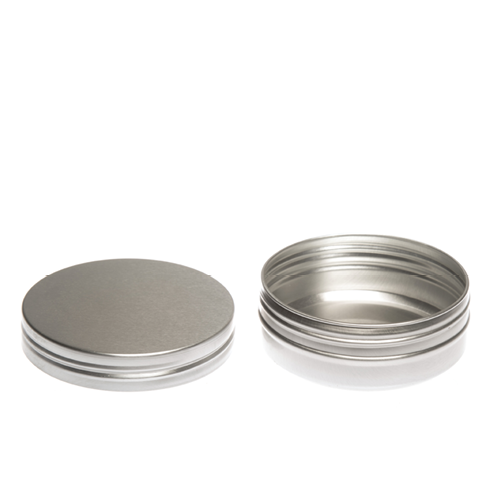 Round aluminium tin container with lid off