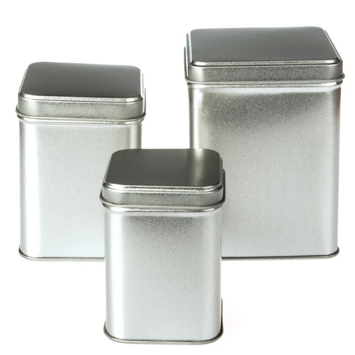 Silver Square Stepped Lid Tin Packaging