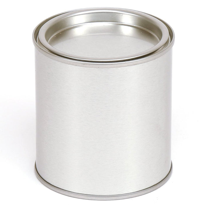 Small paint pot style tin container with lever lid