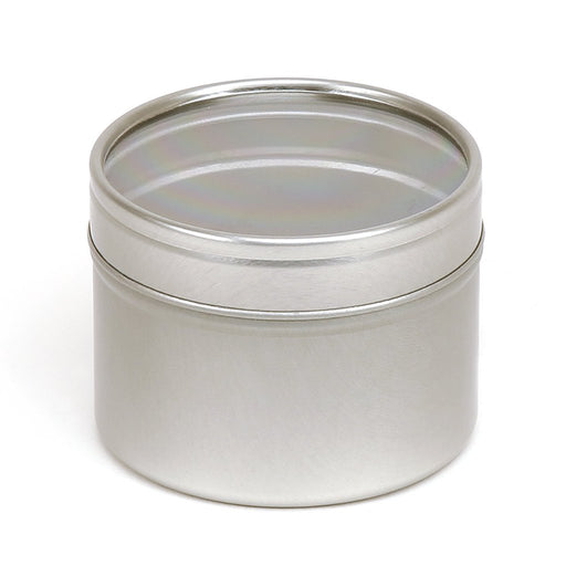 Silver Round Seamless Slip Lid Tins with Windows