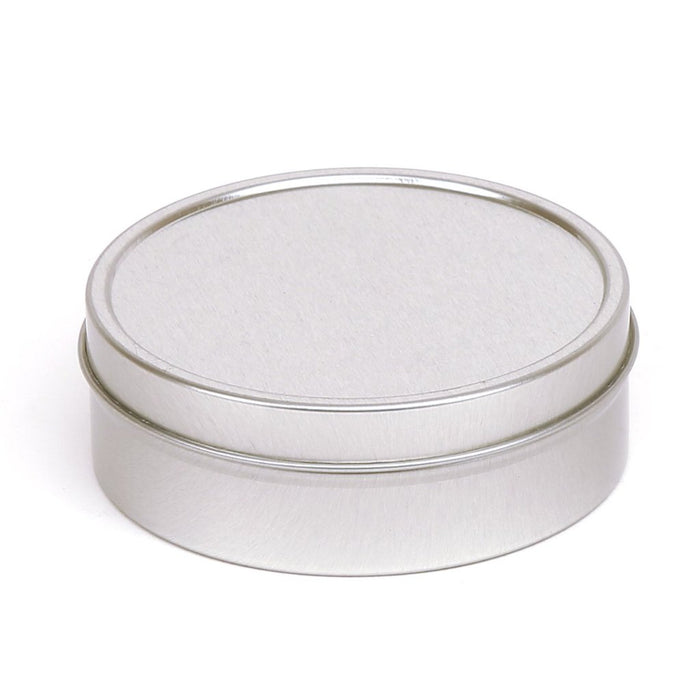 Silver Round Seamless Solid Slip Lid Tins