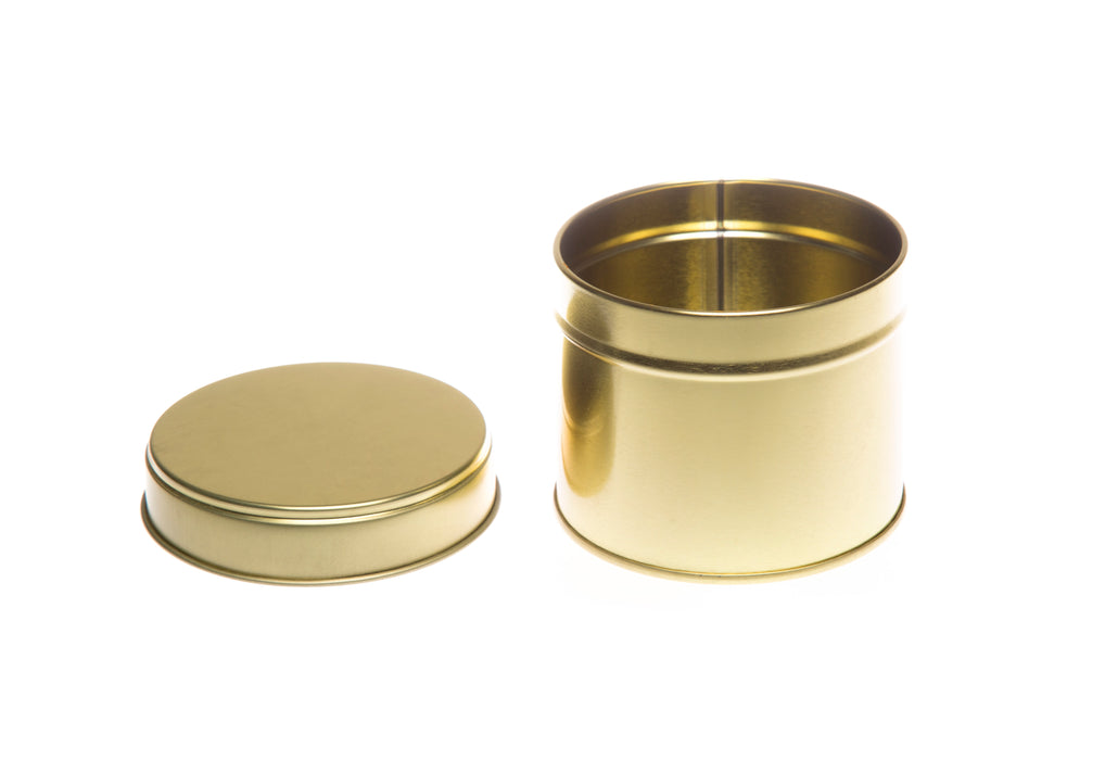 Round Welded Side Seam Tin in Gold, Silver or Rose Gold